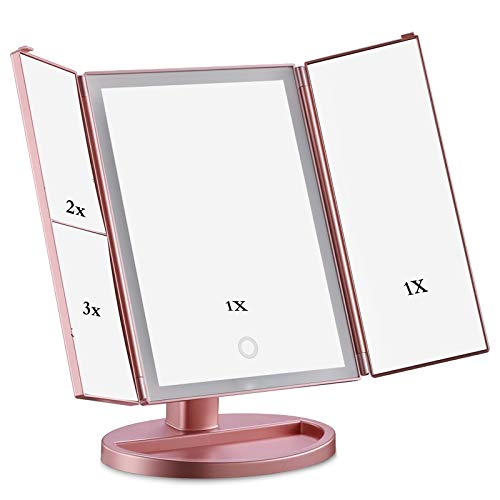 Espejo de pie en Espejo para Maquillaje Make Up Mirror 1X / 2X / 3X Magnifying Light Up Mirror Triple...