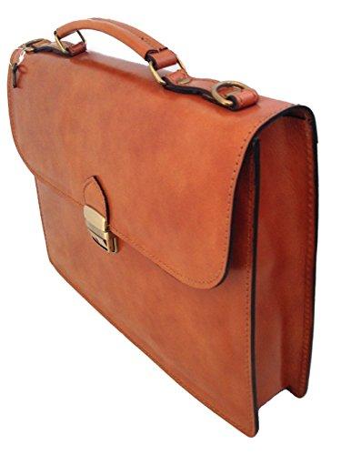 Sac Homme par CTM dossier de travail, Port documents, 38x27x7cm, 100% cuir véritable Fabriqué en Italie