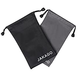 JAKAGO 2x Universal fabric Pouch Phone Sock Portable Waterproof bag Case Sleeve for Glasses Earphone Powerbank and all under 5.5″ Mobile Phone like Iphone Samsung Huawei LG Sony (11x18CM)