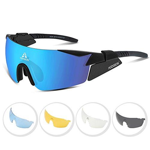 Radbrille HODGSON polarisierte Sportbrille für Rad Ski-Laufen Golf mit 5 Wechselgläsern aus TR90 UV-Schutz für Herren und Damen in Blau