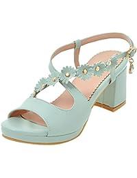 UH Damen Chunky Heels Sandalen Riemchen Sandalen mit Blockabsatz Blumen Hochzeit Braut Schuhe