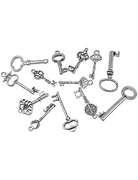 Souarts 1 Set Antik Silber Schlüssel Schmuckzubehör Basteln Charms Anhänger Für Halskette Armband 10St