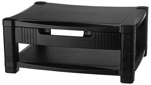 Kantek MS400 Monitor/Laptop-Ständer, höhenverstellbar, 43,2 x 33 x 7,6 cm Zwei Ebenen mit Schublade schwarz