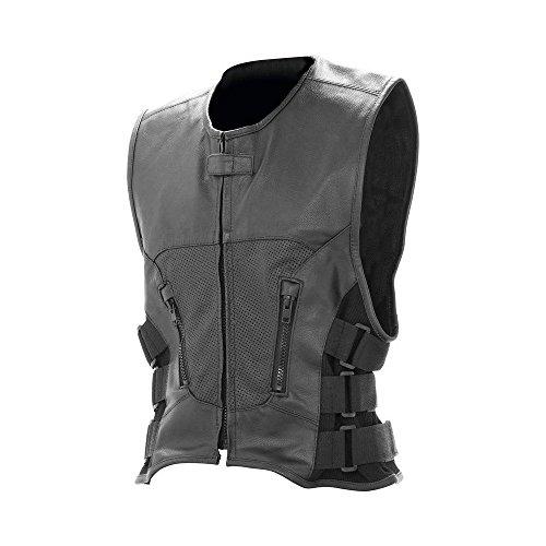 Herren Cool Büffelleder Leather Vest Leder Weste Motorrad Bikerweste Motorradweste Clubweste Clubweste - Schwarz