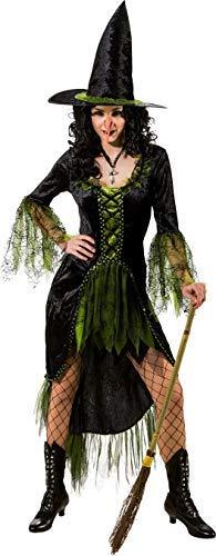 Hexe Böse Evil Halloween Tv Buch Film Horror Kostüm Kleid Outfit - Grün/schwarz, UK 14-16 (EU 42/44) ()