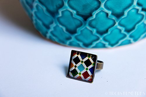 Ring with mosaics of the Alhambra - Vintage multicolored mosaics - Jewelry in ecological resin - Gift for women Christmas - Black friday