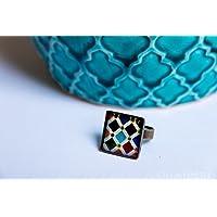 Anillo Alhambra - Mosaico Multicolor vintage - Cerámica Colores Fotografía Resina ecológica 18mm - Regalos originales para mujer - Aniversario - Regalo Día de la Madre