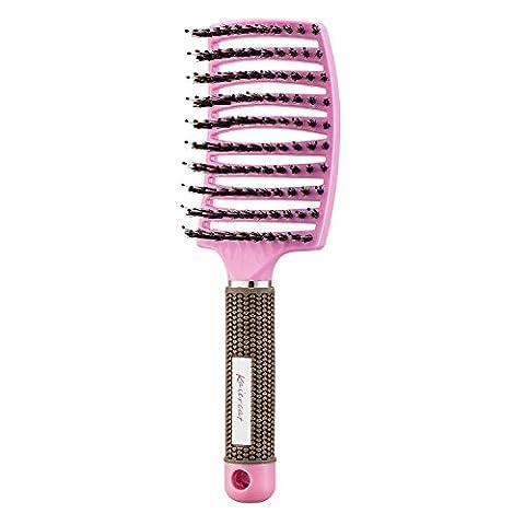 Brosse à poil de sanglier Kaiercat-Meilleure à la vente pour démêlage de cheveux épais et démêlant pour séchage plus rapide - Poil de sanglier 100% naturel pour Distribution d'huile de cheveux (rose)