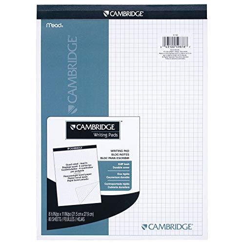 Mead 59878 Cambridge Planungsblock mit steifem Rücken, vierliniert, 8,5 x 11 Zoll, weiß, 80 Blatt pro Block (Mead Notebook Binder)