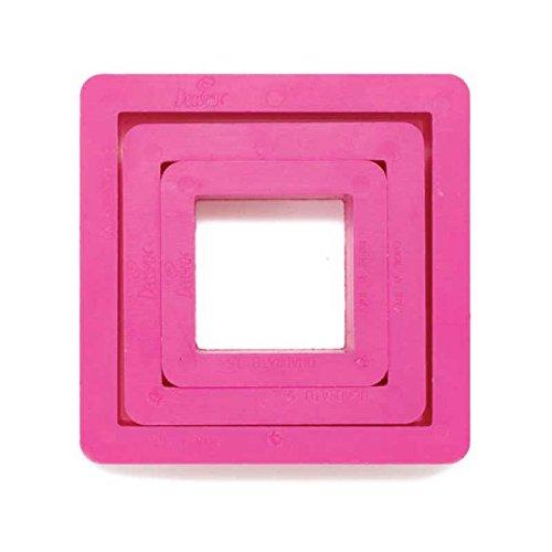 Decora Set Ausstechformen, quadratisch, Kunststoff, Fuchsia, 3.5/5/7x 2.2cm, 3Stück