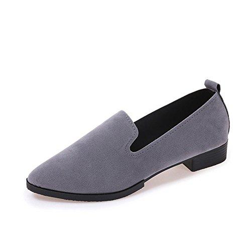 VECDY Damen Schuhe,Räumungsverkauf- Herbst Frauen Damen Slip On Flachen Sandalen Freizeitschuhe Solide Mode Loafer Lässige Faule Schuhe warme Schuhe Sportschuhe(grau,36)