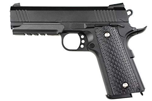 E-Tac Colt 1911 Tactical Railgun Softair Vollmetall Federdruck Airsoft <0,5 Joule 6mm BB Schwarz