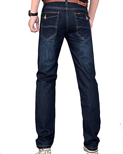 Herren Jeans Hose Basic Stretch Jeanshose Regular Slim Dunkelblau 2