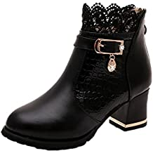 Xjp Women's Zipper Ankle Boots Artificial Leather Platform Block Heel Boots with Lace