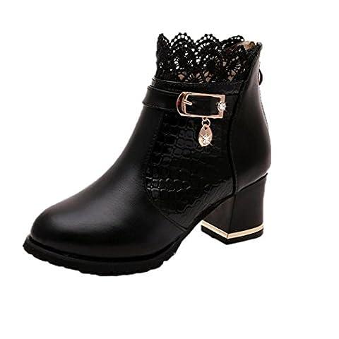 Women's Zipper Ankle Boots - Xjp Artificial Leather Platform Block Heel Boots with Lace (4, Black)