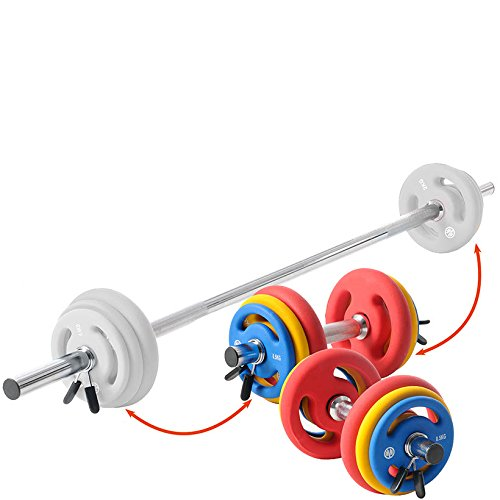 OLIVER Kurzhantelset m. Langhantelstange Gewichte Kraft Training Scheiben