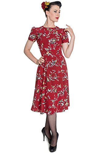 Hell Bunny Birdy Rockabilly Robe Style Retro Vintage Années 40 50 (FR 50 (4XL), Rouge)