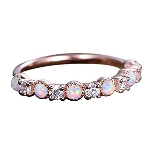 Xuthuly Damen Mode Einfache Temperament Opal Rose Gold Strass Diamant Ring Schmuck Kristall Stud Engagement Ehering Set ringe für frauen