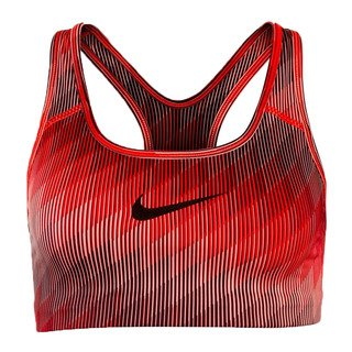 Nike Pro Classic Swoosh Stair Step Sports Bra Max Orange/Black S