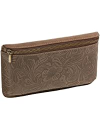 Sac banane flower pattern LEAS, cuir véritable, marron - ''LEAS Vintage-Collection''