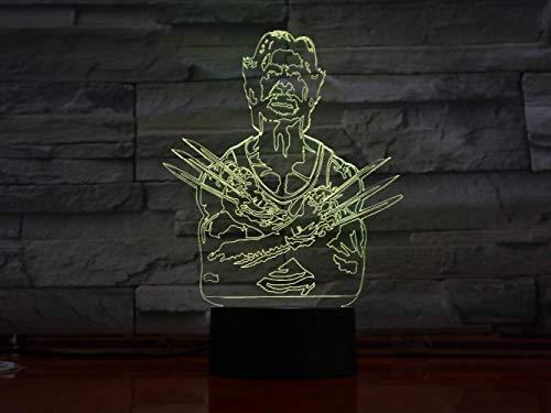 CYJQT 3D Nachtlicht Für Kinder Wolverine X-Men Led Leuchttisch Halloween Dekoration Geschenk Kinder Abschlussfeiertag Usb 7 Farbe Ersatz Lava Licht Boot