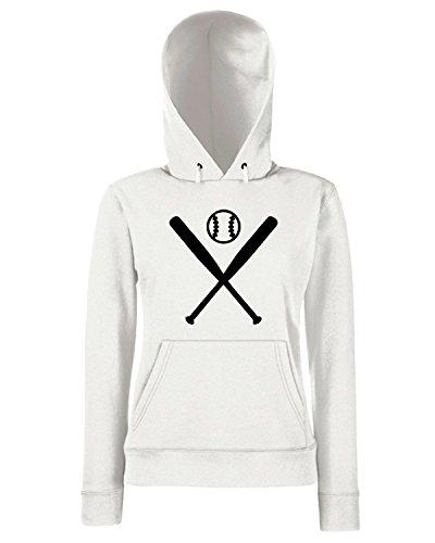 T-Shirtshock - Sweats a capuche Femme SP0135 Two Pitchers Baseball Maglietta Blanc