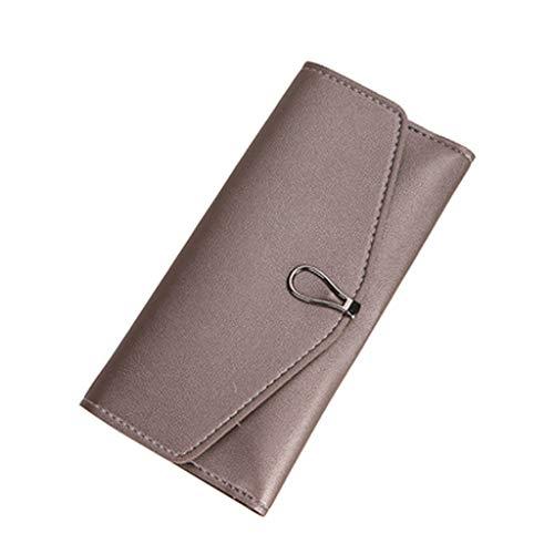 HHyyq Damen-Retro-Geldbörse Aus Hochwertigem Büffelmode-Clutch Mit Quadratischem Aufdruck Und Rfid-Schutz - Geldbörse Damen-Lederpflege-e-Book(Pink)