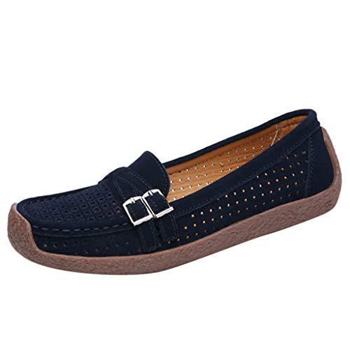 EUCoo_shoes Frauen Flache Schuhe LäSsig Einfarbig Wildleder Quadratischen Kopf Hohl Gesetzt Fuß Einzelne Schuhe Weibliche Erbsen Schuhe 35-42(Blau, 40) Frau Moc