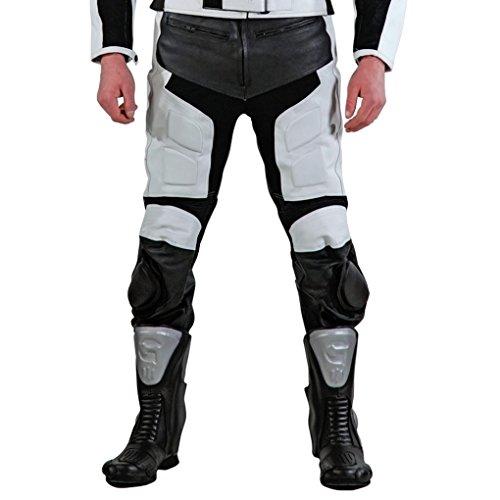 Lemoko Leder Motorradhose mit Knieschleifern Farbe schwarz/weiß Gr L