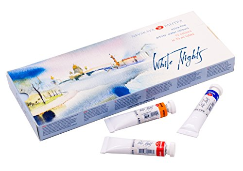 Extrafeine Künstler Aquarellfarben 12 Farben in 10 ml Tuben WHITE NIGHTS