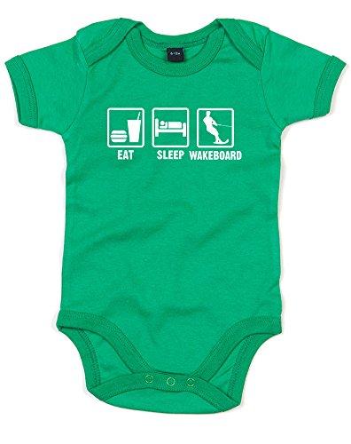 Eat Sleep Wakeboard, Gedruckt Baby Strampler - Grün/Weiß 12-18 Monate