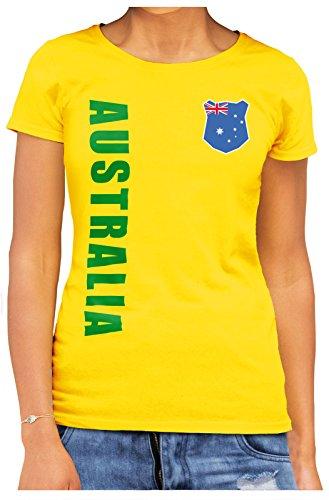 AkyTEX Australien Australia Damen Trikot Fanshirt T-Shirt WM 2018 Name Nummer (Gelb, L)