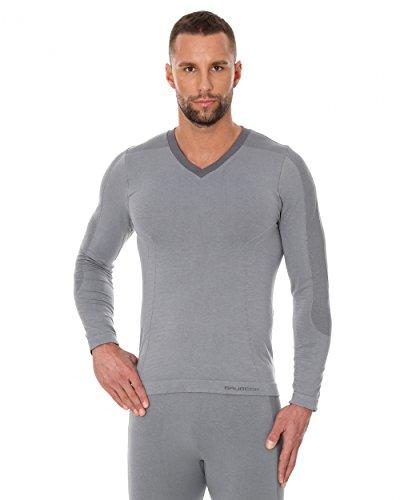 BRUBECK® LS12330 Pigiama da Uomo (Camicia a Manica Lunga) | Pajamas | Abbigliamento da Notte | MicroModal Air | Un Clima-Regolazione di Comfort | Morbidezza Unico Grey