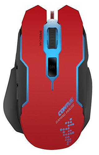 Speedlink 5-TastenGamer Maus für PC / Computer - Contus Gaming Mouse (Laser-Sensor, bis zu 3200 DPI - dpi-Schalter für schnellen Empfindlichkeitswechsel - zuschaltbarer Autofeuermodus mit 50 Klicks/s) schwarz-rot (Pc-maus Auto)