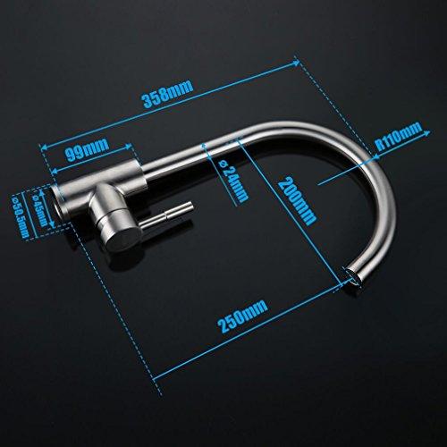 Kinse® Elegant Gebürstet Silber Küchearmatur Mischbatterie Spültischarmatur aus Edelstahl SUS304 mit ABS Bubbler Kann Wasser 30% Sparen für Küche Waschbecken - 6