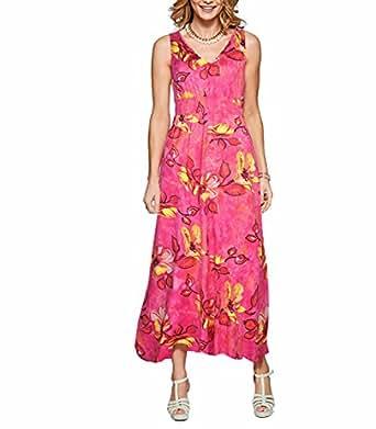 CoCo Fashion Damen Sommerkleid Ärmellos Bohemian Style Maxikleid im modischen Ethno-Look (EU S, Z601_Rot)