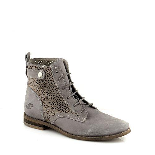 c695ec59f92ade Felmini Damen Schuhe Verlieben Valenca 8809 Schnürung Stiefel Echtes Leder  Grau Grau