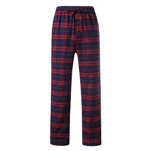 OSYARD Männer Schlafanzughosen Pyjama Hosen Herren Beiläufige Lose Kariert Lang PantsNachtwäsche Webhose Freizeithose Loungewear -