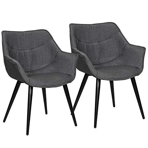 WOLTU Esszimmerstühle BH145dgr-2 2er Set Küchenstühle Wohnzimmerstuhl Polsterstuhl Design Stuhl mit Armlehne Leinen Gestell aus Stahl Dunkelgrau