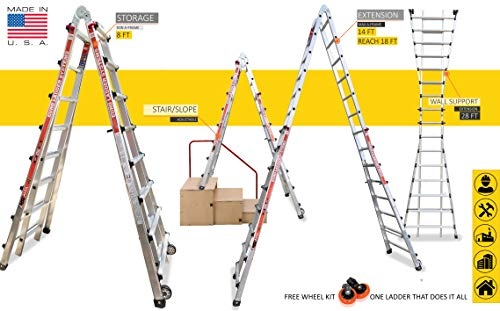 Euro LS Alta MT Skyscraper - 8 ft to 28 ft - Aluminium Telescopic Ladder - MTX15 - Multipurpose 18 in 1 - A-Frame - Wall Support & Staircase Ladder Ideal for Industries/Duplex Spaces/Showrooms