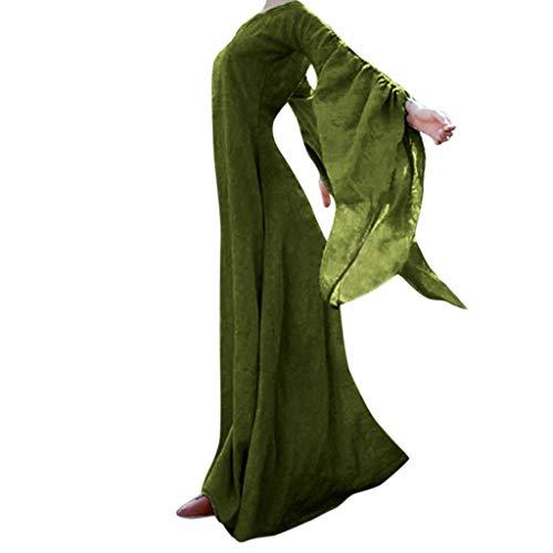 Mädchen Kostüm Hexe Blühen - WQIANGHZI Damen Langarm Mittelalter Kleid Gothic Retrokleid Renaissance Cosplay Kostüm Prinzessinkleid Abendkleid Gebunden Taille Maxikleid Übergrößekleid Weihnachts Karneval Party Halloweenkleid