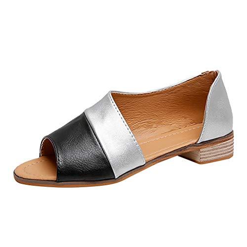 CUTUDE Damen Frühling Sommer Römische Peep Toe gemischte Farben Niedrigen Quadratischen Absatz Große Sandalen Schuhe (Schwarz, 36 EU)