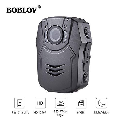 Boblov HD 1296P Polizei Body-Kamera 64GB Mini Recorder IR Nachtsicht Audio 32MP Video (Polizei-kamera)