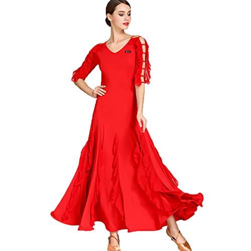 Wangmei Klassisches Modern Dance Performance Kleid Für Damen Hohl Kurzarm Chiffon Rock Standard Tanzkleidung für den Ballsaal Einfach Einfarbig Soziales Tango Tanzkostüm,Red,L
