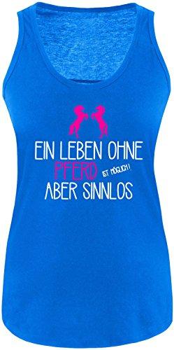 EZYshirt® Ein Leben ohne Pferd ist möglich ! Aber sinnlos Damen Tanktop Royal/ Weiß/ Pink