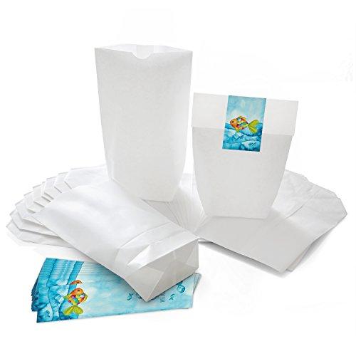 25 kleine weiße Papier-Tüten 14 x 22 x 5,6 cm + 25 blau türkise Regenbogen-Fisch SCHÖN DASS DU DA BIST Aufkleber 5 x 15 cm Verpackung give-away Gastgeschenk Kommunion Geburtstag Kinder