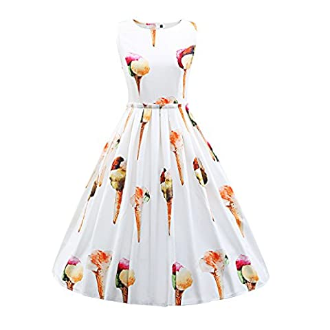 Frauen 50er Jahre Vintage Hepburn Button Dekoration Swing Party Cocktail BallGown Druck Kleid
