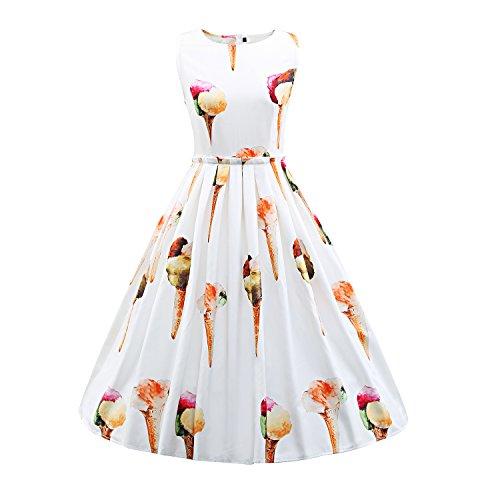 LUOUSE 40er 50er Sommer Damen Ohne Arm Kleid Dress Vintage kleid Rockabilly abendkleid, White, XL