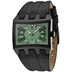 Police Dimension Men's Quartz Watch with Grey Dial Analogue Display and Black Leather Strap 13420JSB/05B