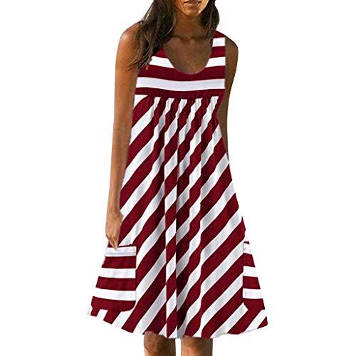 Maleya Frauen Casual O-Ausschnitt Minikleid Streifen Print Pocket ärmelloses Kleid Plus Size Overlay Chiffon trägerlosen Elegant Kleid Strand Hemdkleid Blusekleid Partykleid Cocktailkleider -